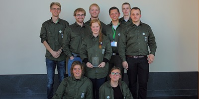Team 2014 posing with their well earned award for the project Biobricks